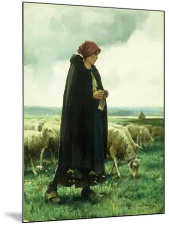A Shepherdess with Her Flock-Julien Dupre-Mounted Giclee Print