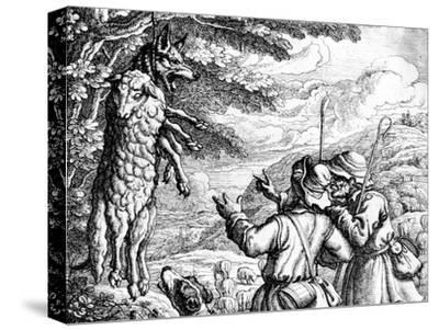 The Wolf in Sheep's Clothing, 1687-Francis Barlow-Stretched Canvas Print