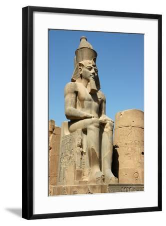 Seated Figure of Rameses II Wearing the Double Crown of Upper and Lower Egypt--Framed Giclee Print