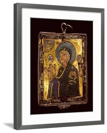 A Small Gold and Enamelled Reliquary Which Would Have Been Worn around the Neck to Protect the…--Framed Giclee Print