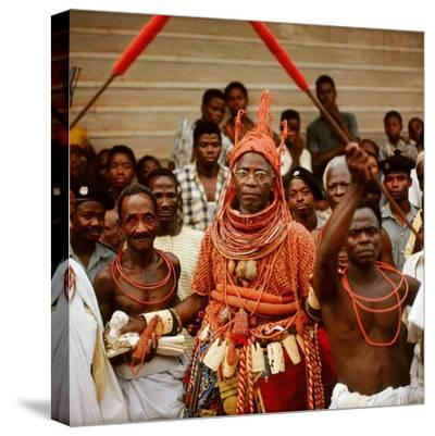 The Late Oba Akenzua II in Full Regalia, Including a Coral Garment and Headpiece--Stretched Canvas Print