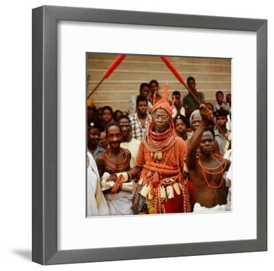 The Late Oba Akenzua II in Full Regalia, Including a Coral Garment and Headpiece--Framed Giclee Print