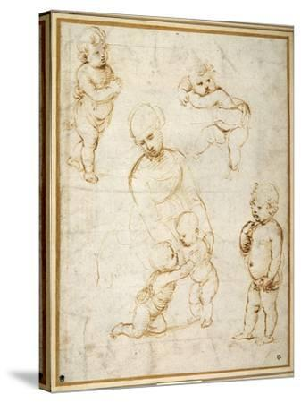 Studies for the 'Madonna of the Meadow', C.1505-Raphael-Stretched Canvas Print