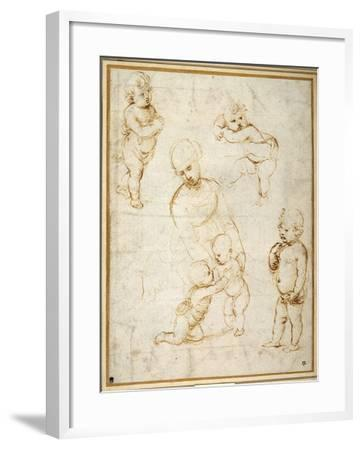 Studies for the 'Madonna of the Meadow', C.1505-Raphael-Framed Giclee Print