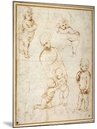 Studies for the 'Madonna of the Meadow', C.1505-Raphael-Mounted Giclee Print