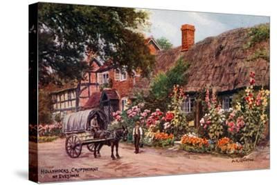 Hollyhocks, Cropthorne, Evesham-Alfred Robert Quinton-Stretched Canvas Print