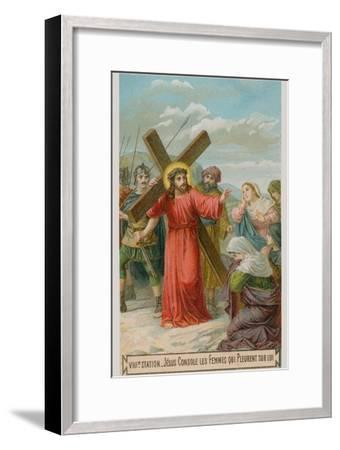Jesus Consoles the Women Who are Weeping for Him. the Eighth Station of the Cross--Framed Giclee Print