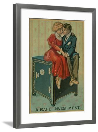 Man and Woman Embracing on a Safe, a Safe Investment--Framed Giclee Print