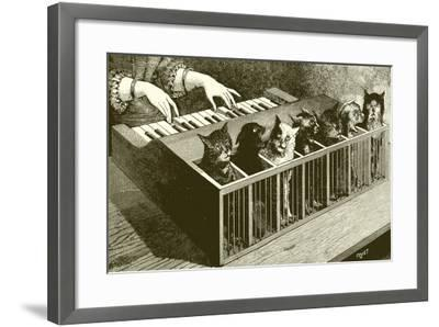 The Piano of Cats-English School-Framed Giclee Print