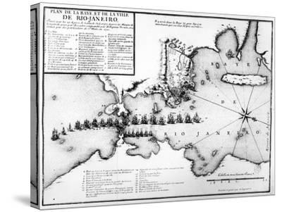 Plan of the Bay and City of Rio De Janeiro and the Disposition of the French and Portuguese Naval…-Antoine Coquart-Stretched Canvas Print