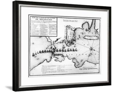 Plan of the Bay and City of Rio De Janeiro and the Disposition of the French and Portuguese Naval…-Antoine Coquart-Framed Giclee Print