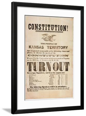 Constitution! the People of the Kansas Territory are Requested to Assemble..., Printed by E. C.…--Framed Giclee Print