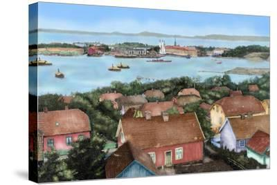 Norway. Horten. 19th Century. View of the City with the Port and Arsenal of the State with the…--Stretched Canvas Print