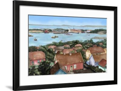 Norway. Horten. 19th Century. View of the City with the Port and Arsenal of the State with the…--Framed Giclee Print