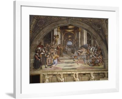 The Expulsion of Heliodorus from the Temple, Stanza Di Eliodoro, 1511-12-Raphael-Framed Giclee Print