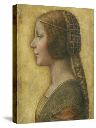 Profile of a Young Fiancee-Leonardo da Vinci-Stretched Canvas Print