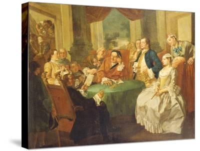 The Marriage Contract-Gaspare Traversi-Stretched Canvas Print