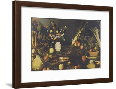 Still Life of Flowers, Fruit and Vegetables, C.1594-Caravaggio-Framed Giclee Print