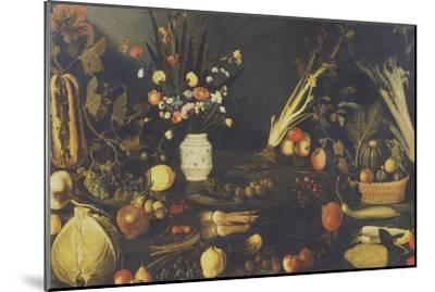 Still Life of Flowers, Fruit and Vegetables, C.1594-Caravaggio-Mounted Giclee Print
