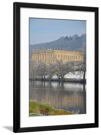 Chatsworth House from the Southwest over the River Derwent, Derbyshire--Framed Photographic Print