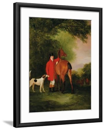 Portrait of Lord Lismore in a Hunting Coat with His Bay Hunter and a Hound, in a Landscape, a…-John E^ Ferneley-Framed Giclee Print