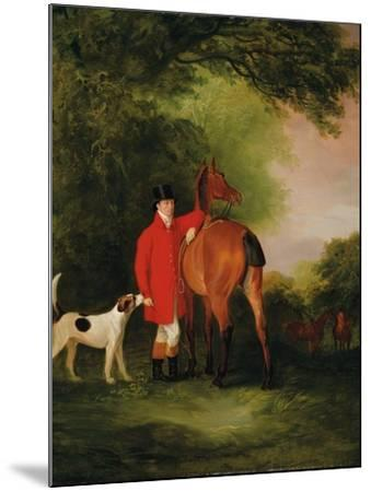 Portrait of Lord Lismore in a Hunting Coat with His Bay Hunter and a Hound, in a Landscape, a…-John E^ Ferneley-Mounted Giclee Print