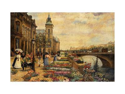 A Flower Market on the Seine-Checa y Sanz Ulpiano-Framed Giclee Print
