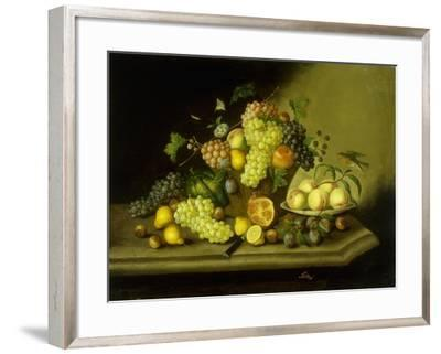 A Still Life with a Basket of Grapes and Mixed Fruit on a Stone Ledge-Johann Georg Seitz-Framed Giclee Print
