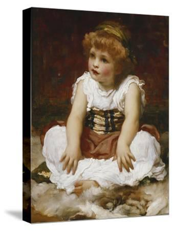 Portrait of a Girl seated on a Rug-Frederick Leighton-Stretched Canvas Print
