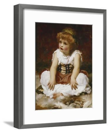 Portrait of a Girl seated on a Rug-Frederick Leighton-Framed Giclee Print