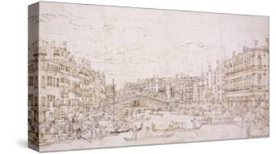 The Grand Canal, Venice, with the Rialto Bridge from the South-Bernardo Bellotto-Stretched Canvas Print