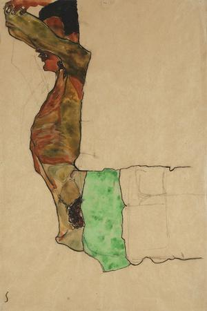 Reclining Male Nude with Green Cloth (Self-Portrait)-Egon Schiele-Stretched Canvas Print
