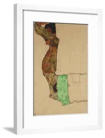 Reclining Male Nude with Green Cloth (Self-Portrait)-Egon Schiele-Framed Giclee Print