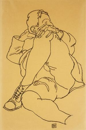 Young Man Reclining with his Head Resting on His Crossed Leg-Egon Schiele-Stretched Canvas Print