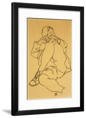 Young Man Reclining with his Head Resting on His Crossed Leg-Egon Schiele-Framed Giclee Print