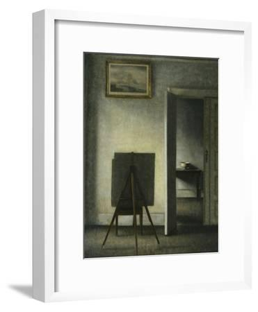 An Interior with the Artist's Easel-Vilhelm		 Hammershoi-Framed Giclee Print