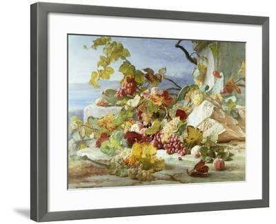 Peaches and Grapes in a Rocky Landscape-Theude Gronland-Framed Giclee Print