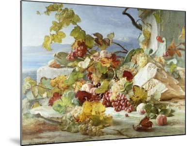Peaches and Grapes in a Rocky Landscape-Theude Gronland-Mounted Giclee Print
