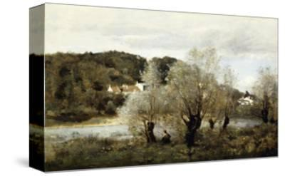 Fisherman on the Edge of a Pond in the Village of Avary-Jean-Baptiste-Camille Corot-Stretched Canvas Print