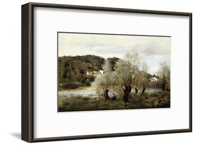 Fisherman on the Edge of a Pond in the Village of Avary-Jean-Baptiste-Camille Corot-Framed Giclee Print