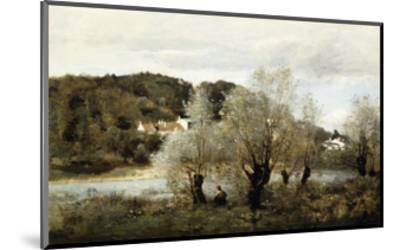 Fisherman on the Edge of a Pond in the Village of Avary-Jean-Baptiste-Camille Corot-Mounted Giclee Print