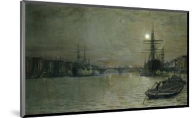 The Pool and London Bridge at Night-John Atkinson Grimshaw-Mounted Premium Giclee Print