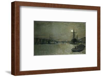 The Pool and London Bridge at Night-John Atkinson Grimshaw-Framed Premium Giclee Print