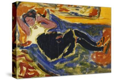 Woman with Black Stockings-Ernst Ludwig Kirchner-Stretched Canvas Print