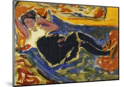 Woman with Black Stockings-Ernst Ludwig Kirchner-Mounted Giclee Print