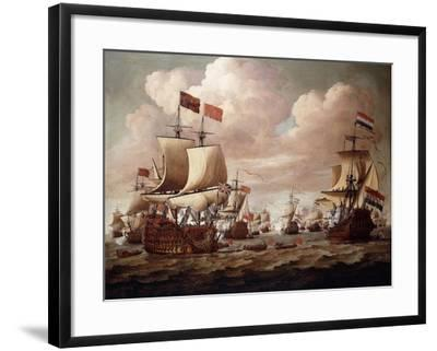 The English and Dutch Fleets exchanging Salutes at Sea-Willem Velde I-Framed Giclee Print
