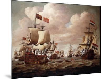 The English and Dutch Fleets exchanging Salutes at Sea-Willem Velde I-Mounted Giclee Print