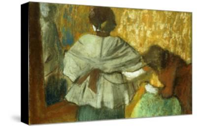 At the Couturiere, the Fitting-Edgar Degas-Stretched Canvas Print
