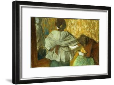 At the Couturiere, the Fitting-Edgar Degas-Framed Giclee Print
