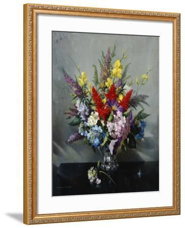 Still Life with Buddleia, Hydrangea and Clematis-Vernon Ward-Framed Giclee Print